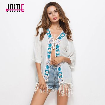 Jastie Flower Crochet Kimono Kaftan Embroidered Cardigan National Style Boho Tassel Beach Sun Protection Jacket Women Outerwear