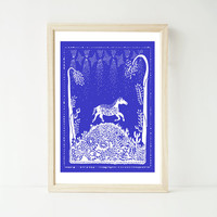 Horse A4 Print, Horses, Nature, Desert, Texas, American Landscape, Mexican Pattern, Stars, Twilight, Magic, Wall Decor