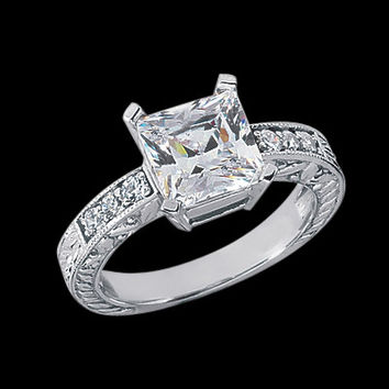 Antique style 1.71 carat princess diamond engagement ring gold white