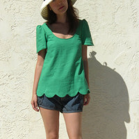 Scalloped Hem Linen Blouse Green by artaffect on Etsy