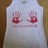 Save The Boobies - Breast Cancer Awareness - Fine Cotton Tank Top - FREE SHIPPING