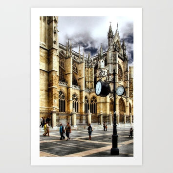 Leon Cathedral, Spain Art Print by vitorribeiro