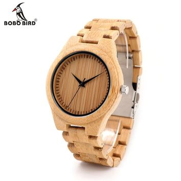 BOBO BIRD D19 Men's Luxulry Top Brand Design Watches Colorful Hands Wood Wristwatches for Men Customized Bamboo Wooden Watches