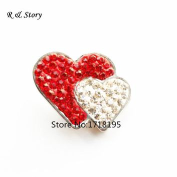 Double Heart Red & White Snap Button , Rhinestone Snap Button Charms Jewelry SB_1059