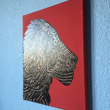 """Tribal Lion Painting sparkle stretched canvas 11"""" x 14"""" wall decor"""
