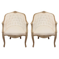 disegno Karina Gentinetta - restored by Karina Gentinetta - Pair 19th c. Louis XV Painted Barrel Back and Tufted Chairs - 1stdibs
