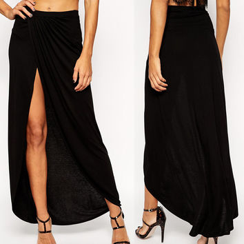 black maxi skirt with thigh high slit from hello styles