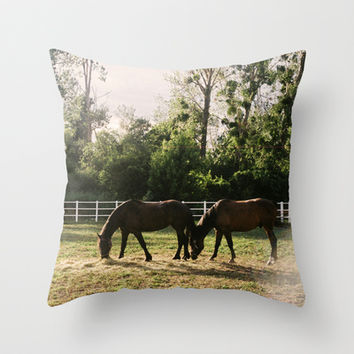 Horses Throw Pillow by XyPhotos