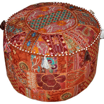 Large Bohemian Pouf Ottoman floor pillow decorative Cushion Ethnic Indian Decor bohemian stool chair pouffe pouffes Indian PILLOW bean bag