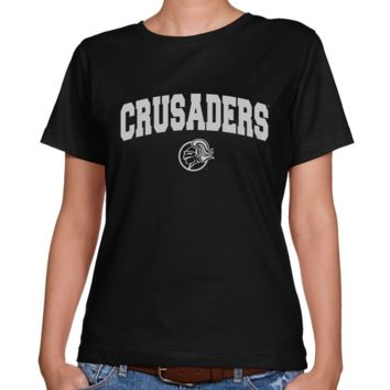 Holy Cross Crusaders Ladies Black Logo Arch Classic Fit T-shirt