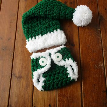 Crochet Newborn Green Christmas Outfit Baby Santa Photo Outfit