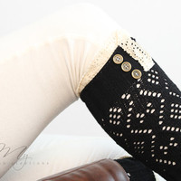 Boot Cuffs: Lacy Boot Cuffs, Knit Boot Cuffs, Lace Boot Socks, Black Legwarmers, Gray, Black, Lace Boot Cuffs, Cozy Leg wear for women