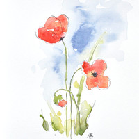 Watercolor Red Poppy Painting. Original Watercolor Art, Watercolor Poppy, Nursery, Wall Decor,  Home Decor, Flower Paintings by MABartStudio