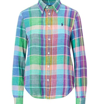 BOY FIT PLAID LINEN SHIRT