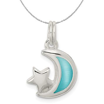 Sterling Silver and Enameled Light Blue Moon and Star Charm Necklace