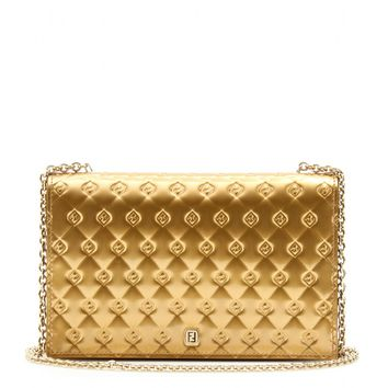 fendi - logo embossed metallic leather wallet clutch