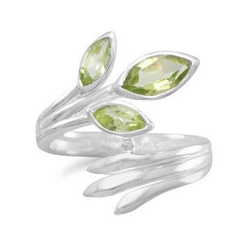 Sterling Silver Peridot Marquise Wrap Ring