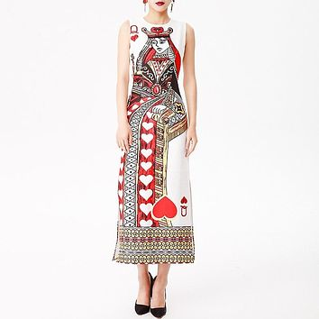 Euramerican High Street Beaded Vintage Print Polyester Sleeveless Sheath Dress