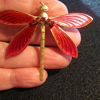 Vintage JKL (Kenneth J Lane) Ruby Red Enamel & Gold Tone Dragonfly Rhinestone Jewelry Brooch Pin