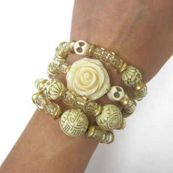 Sugar Skull Bracelet Day Of The Dead Wedding Jewelry Rose Ivory