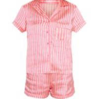 Pink Stripe Button Up Short Pyjama Set