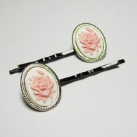 Pair Antique Silver Pink and White Rose by LondonsGate
