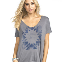 Roxy Geo World Cross Back Womens Tee Heather Grey  In Sizes