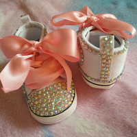 free shipping rhinestone Crystal Baby Girl Child shoes handmade Bling diamond First Walkers bead soft Pink ribbon Sports shoes