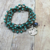 Turquoise crochet wrap bracelet necklace,5x wrap, Sand Dollar Charm, Beach Boho Chic Jewelry, Yoga Bracelet, Bohemian Beaded Bracelet