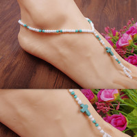 Gift New Arrival Cute Stylish Jewelry Shiny Sexy Ladies Bohemia Vintage Turquoise Cross Rack Handcrafts Stretch Anklet [6768804231]