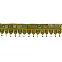 "78"" Large Yellow Indian Vintage Patchwork Door Window Hanging Valance Toran Treatment Art"