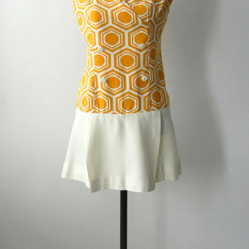 SALE! Vintage 1960s Mustard Yellow & White Graphic Mod Tennis Dress, Medium to Large