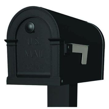Gibraltar PM000B01 Lincoln Decorative Post Mount Mailbox, Black, Polypropylene