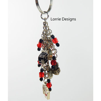 Beaded Dice Cards Purse Charm Red Silver Zipper Pull Handmade Key Chain OOAK