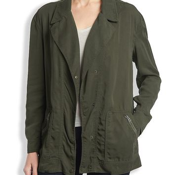 Lucky Brand Oversized Tencel Jacket Womens - Grape Leaf