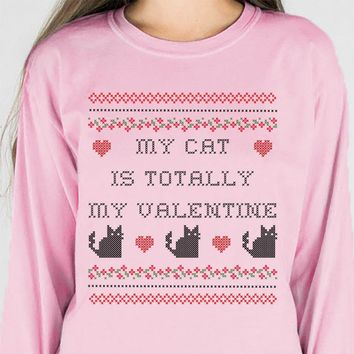 My Cat is Totally My Valentine Long Sleeve Tee