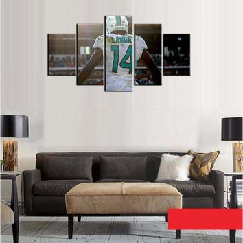 Fashion Poster Miami Dolphins Wall Art Photo For Living Room Decor Oil Painting On Canvas 5 Pcs/Set Best Gifts Frameless