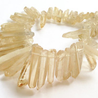 Peach Crystal Quartz  Spikes Beads,  Light Brown Points Drilled Briolettes Agate Spikes (10) Pcs, Boho Tribal Beads For Jewelry Projects