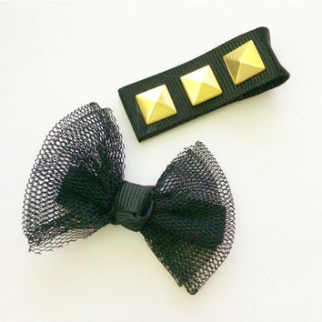 Set of Two Tulle Bow and Gold Studded Tough Girl Hair Accessories Girl Baby Alligator Clips