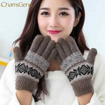 2017 Thickening  Knit Wool Women Girl Winter Keep Warm Mittens Gloves   Aug 9 New Arrival