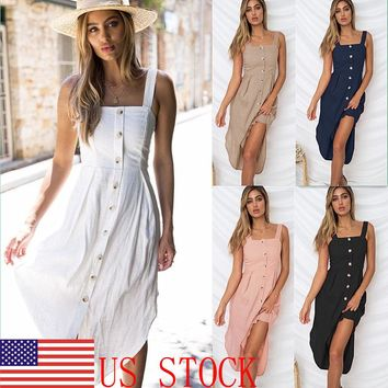 Women Summer Casual Long Maxi Button Dress Bandage Evening Party Beach Sundress