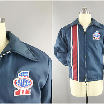 1960s Vintage / Swingster Racing Stripe Jacket / NHRA Drag Racing Patch / National Hot Rod Association / USA #1 Patch / Size Small 38 - 40