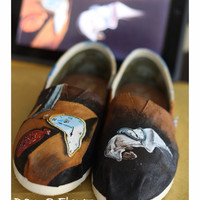 Salvador Dali, Persistence of Memory inspired Custom Painted on TOMS Vans or other shoes.  Artwork Only. Shoes not included