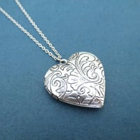 Vintage, Filagree, Heart, Locket, Necklace