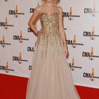 Wholesale 2013 New Strapless Celebrity Dresses Ball Gown Swift Gold Pageant Dresses Girls Dresses, Free shipping, $123.2-135.52/Piece   DHgate