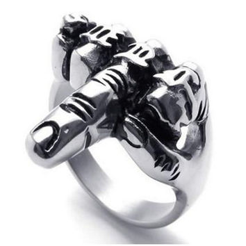 Men's Biker Middle Finger Up Stainless Steel Ring, Silver Black