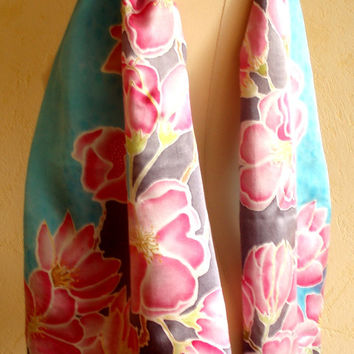 Painted by hand silk scarf with Cherry Blossoms. Bleu Pink Black Floral Silk Scarf. Asian-style Silk Scarf. Original artwork on 100% silk