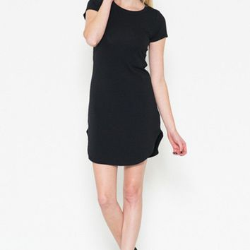 Sexy Solid Short Sleeve Straight Tunic Mini Shirt Dress