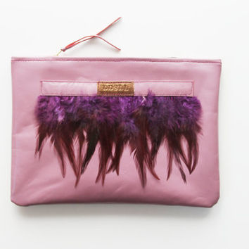 ADORA  2 / Natural leather & feather clutch bag - Ready to Ship