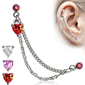 Heart 316L Surgical Steel Double Chained Cartilage Earring (Sold Individually)